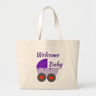 welcome baby large tote bag