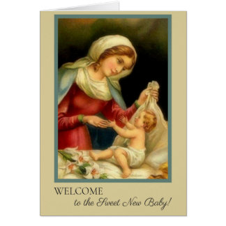 Welcome Baby Madonna & Jesus Card