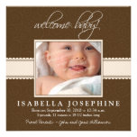 Welcome Baby! Taupe Ribbon Birth Announcement