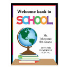 Welcome Back to School, Globe & Books Personalised Postcard