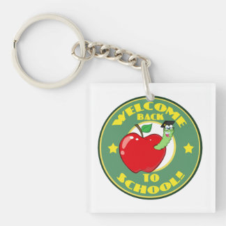 Welcome Back to School Double-Sided Square Acrylic Keychain