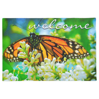 """Welcome"" Beautiful Orange Monarch Butterfly Photo Doormat"