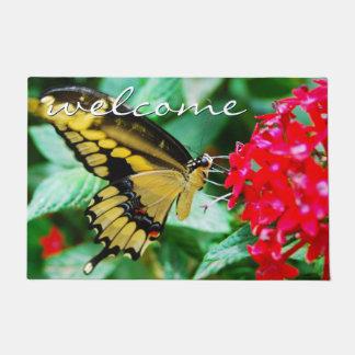 """Welcome"" Beautiful Yellow & Black Butterfly Photo Doormat"