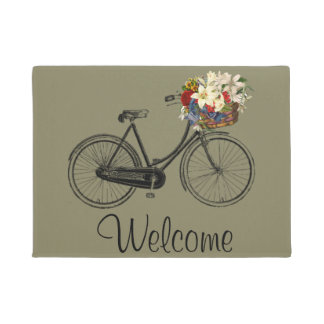 welcome Bike bicycle flower door mat taupe