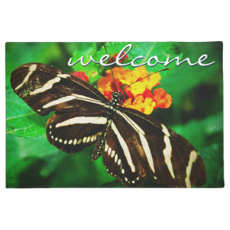"""""""Welcome"""" Black and White Striped Butterfly Photo Doormat"""