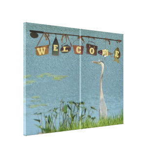 Welcome Blue Heron Canvas Print
