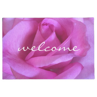 """Welcome"" Bright Purple Pink Rose Close-up Photo Doormat"