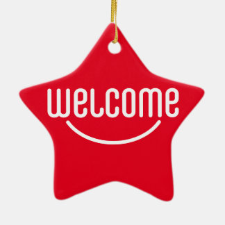 Welcome Ceramic Star Decoration