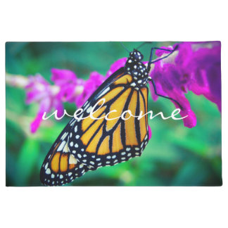 """""""Welcome"""" Colorful Orange Monarch Butterfly Photo Doormat"""