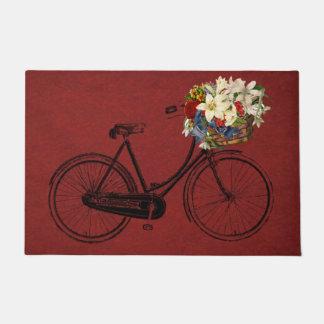 welcome door mat red bicycle bike