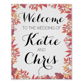 Welcome Fall Wedding Sign