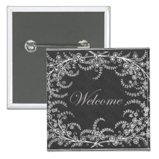 Welcome Flower and Leaf Chalkboard 15 Cm Square Badge