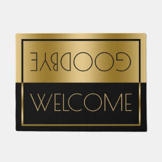Welcome Goodbye Gold & Black Geometric Design Doormat