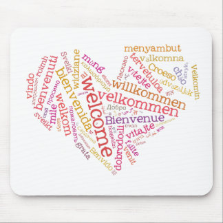 Welcome Heart (many languages) Mousepad