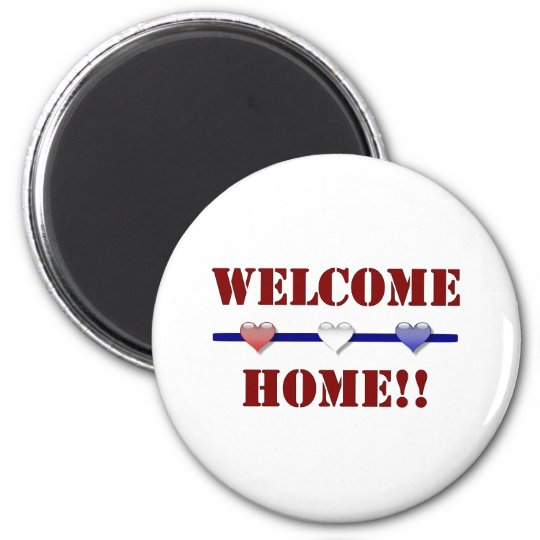 Welcome Home: 3 hearts 6 Cm Round Magnet