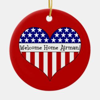 Welcome Home Airman! Round Ceramic Decoration