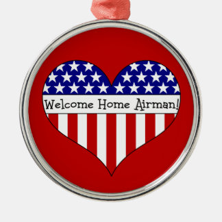 Welcome Home Airman! Silver-Colored Round Decoration