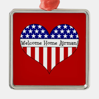 Welcome Home Airman! Silver-Colored Square Decoration
