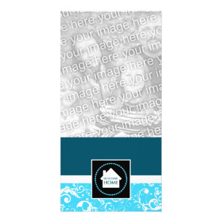 welcome home blue damask customised photo card