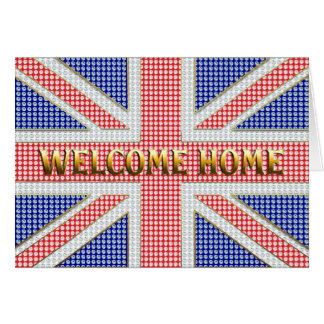 Welcome home card with a jeweled Union Jack