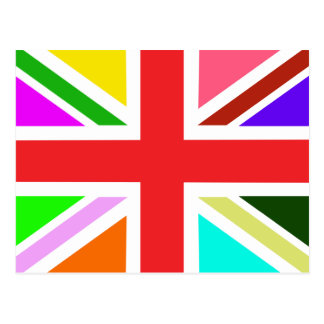 Welcome home card with a rainbow Union Jack Postcard