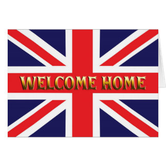 Welcome home card with a Union Jack