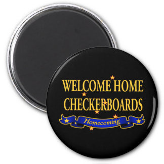 Welcome Home Checkerboards 6 Cm Round Magnet