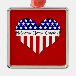 Welcome Home Coastie! Silver-Colored Square Decoration
