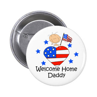 Welcome Home Daddy Stick Figure Baby 6 Cm Round Badge
