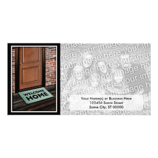 welcome home door mat personalised photo card