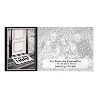 welcome home door mat photograph personalized photo card