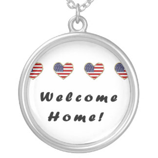 Welcome Home Flags Round Pendant Necklace