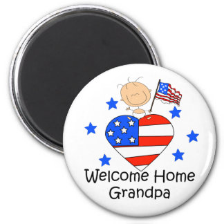 Welcome Home Grandpa Stick Figure Baby 6 Cm Round Magnet