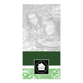 welcome home green damask customized photo card
