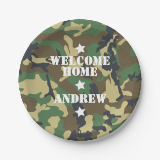 Welcome Home Military Army Deployment Camouflage Paper Plate