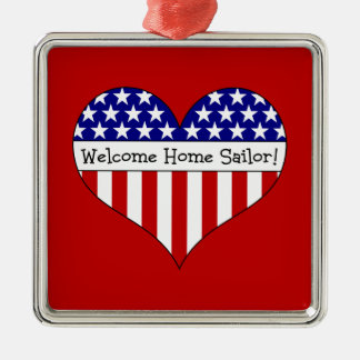 Welcome Home Sailor! Silver-Colored Square Decoration