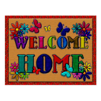 Welcome Home Sign Butterfly Floral Postcard