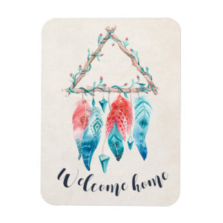 Welcome Home Triangle Dream Catcher Tribal Chic Rectangular Photo Magnet