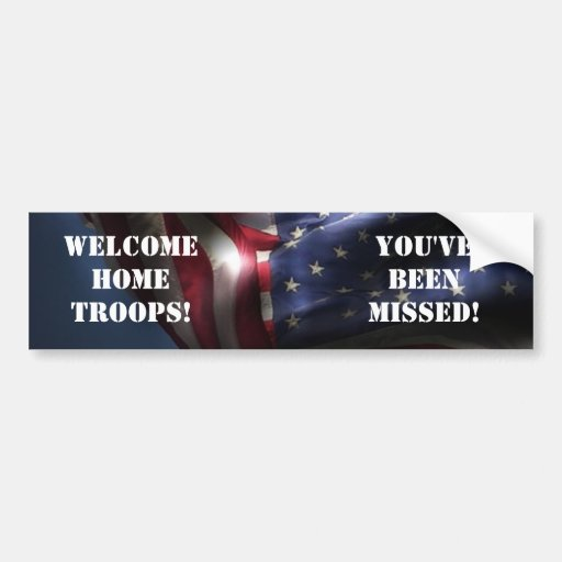 Welcome Home Troops-American Flag Bumper Stickers