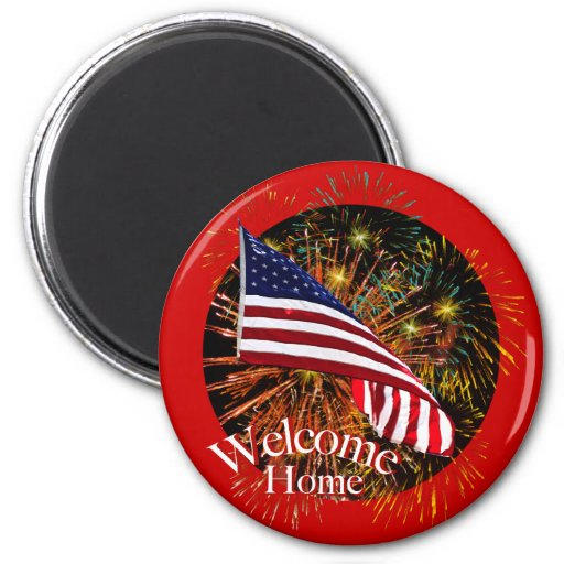 Welcome Home Troops Round Magnet