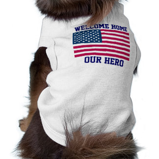 WELCOME HOME US TROOPS - DOG RIBBED T-SHIRTS - FUN SLEEVELESS DOG SHIRT