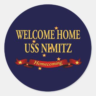 Welcome Home USS Nimitz Round Sticker