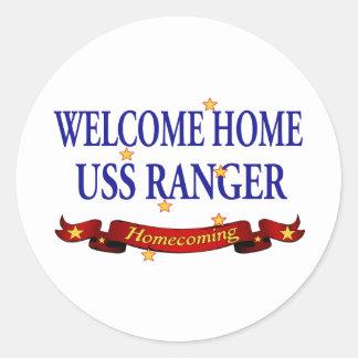 Welcome Home USS Ranger Round Sticker