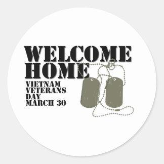 Welcome Home Vietnam Veteran Day Classic Round Sticker