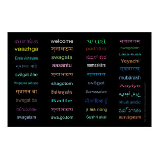 WELCOME in Languages of INDIA- 5 Sizes, BLACK Poster
