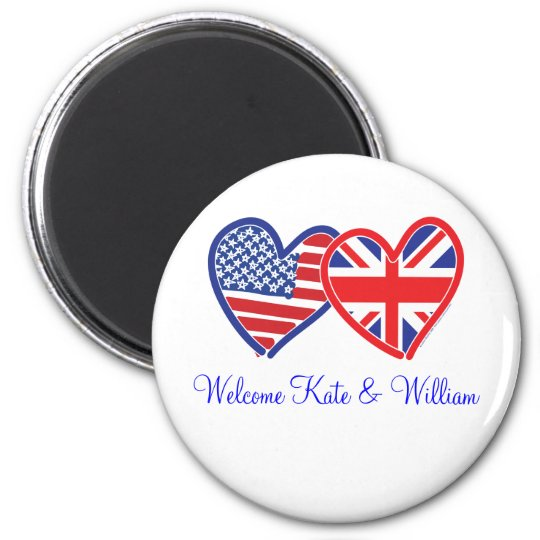 Welcome Kate & William/ Royal Wedding 6 Cm Round Magnet