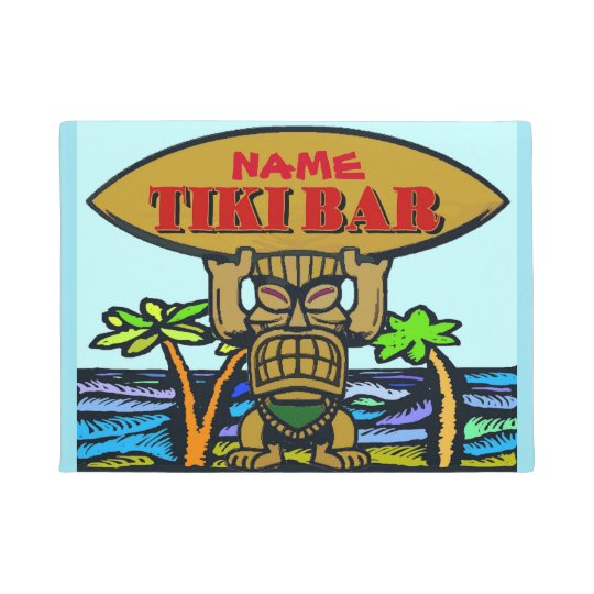 Welcome Mat Tiki Bar Doormat Zazzle Co Uk
