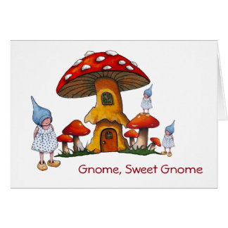 Welcome New Home, Gnomes, Fantasy Art, Toadstools Greeting Card