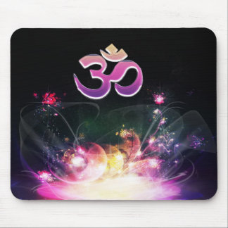 Welcome Om Fantasy Lotus Flower Mousepad