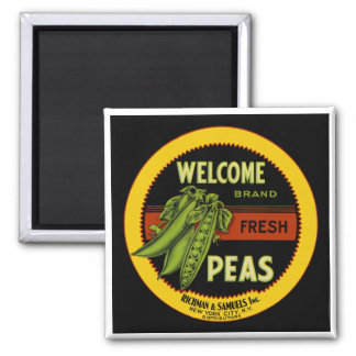 Welcome Peas Label New York Magnet